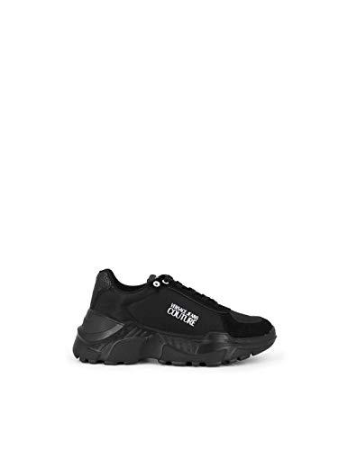 VERSACE JEANS COUTURE E0VZASC1 - Zapatillas deportivas de piel y ante negro con detalles de purpurina Size: 39 EU