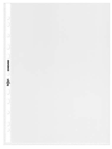 REXEL Buste a perforazione universale, Formato A4, 30.6 x 23.4 x 1.9 cm, Colore trasparente, 50 pezzi, 224804