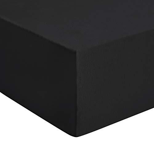 Amazon Basics - Premium-Spannbetttuch, Jersey, Anthrazit - 140 x 200 cm
