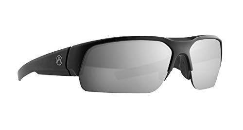 Magpul Helix Sunglasses Tactical Ballistic Military Eyewear Shooting Glasses for Men, Black Frame, Gray Lens with Silver Mirror (Polarized), One Size