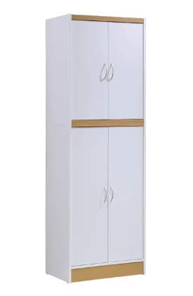 Stand Alone Kitchen Pantry Storage Cabinet 4 Door Modern Wooden 72 Inch Kitchen Cabinet 5 Shelf White Finish Best Contemporary Kitchen Pantry E-Book
