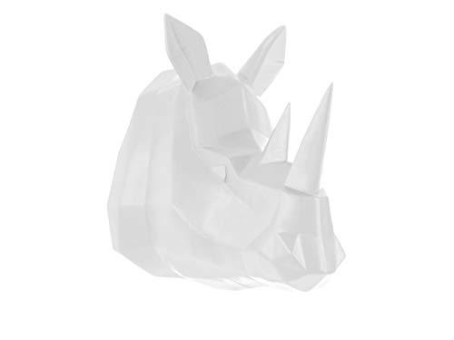 Present Time - Tête de rhinocéros Blanche Origami
