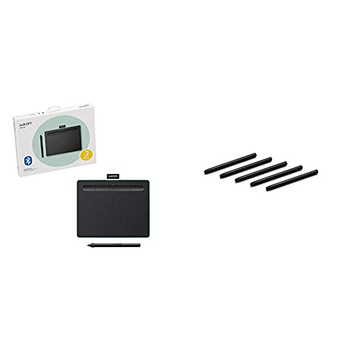 Wacom Intuos Wireless Graphics Drawing Tablet - Black With Pistachio Accent (Ctl4100Wle0) & Ack20001 Standard Nibs,Black & Pistachio,Small & Medium