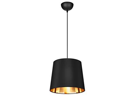 Dekorative Pendelleuchte LAUREA mit STOFF Lampenschirm Ø30cm in Schwarz & Innen Gold – einzigartiges Lichtambiente in edlem DESIGN