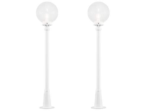 KONSTSMIDE 2er-Set Wegeleuchten / Pollerleuchten ORION, E27, klares Glas, weißes Aluminium, Höhe 118 cm; 498-250