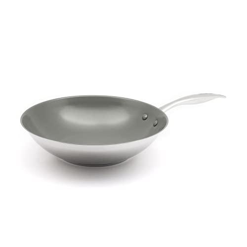 GREENCHEF Profile Plus Wok Antiadherente de Acero Inoxidable con Revestimiento de Cerámica, Apto para Todo Tipo de Cocinas, Inducción, Horno y Lavavajillas, 28 cm, Plateado