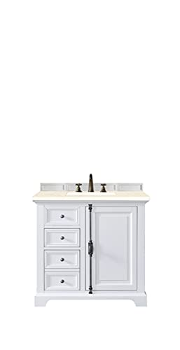 James Martin Furniture 238-105-V36-BW-3EMR 36 in. Providence Single Vanity Cabinet with 3 cm Eternal Marfil Quartz Top44; Bright White
