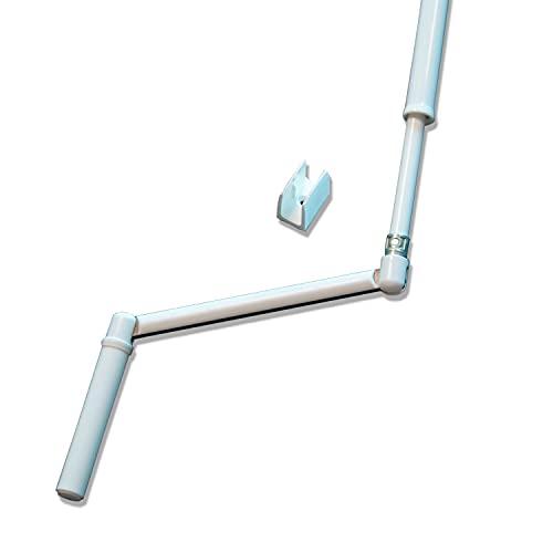 Manivelle de volet roulant complète E618D Kit manivelle barre et poignée pour store - Tringle oscillante profil - Finition Blanche - Longueur 1300mm