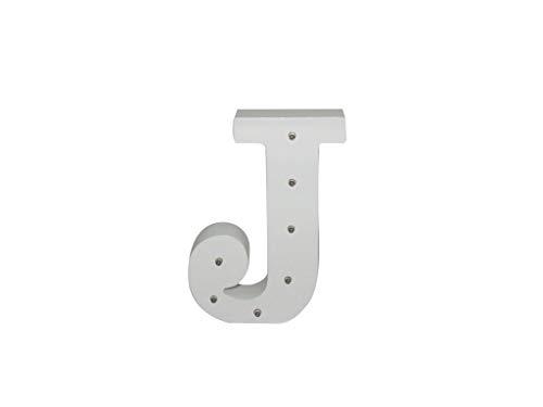 Letra blanca decorativa con luz LED blanca (madera) (J)