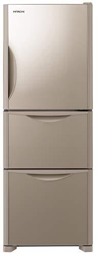 日立 冷蔵庫 265L 3ドア 右開き 幅54.0cm 奥行65.5cm まんなか野菜タイプ 真空チルド うるおい野菜室 クリスタルシャンパン R-S27JV XN