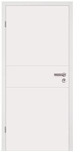HORI® Zimmertür Komplettset mit Zarge und Türdrücker I Innentür weiß lackiert mit 2 Querstreifen I Höhe 198,5 cm I Anschlag, Breite und Wandstärke wählbar I DIN links I 1985 x 860 mm