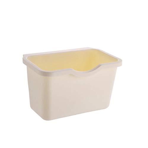 Cubo de basura para colgar en puertas de armario de cocina, almacenamiento de residuos vegetales y alimentos y residuos de alimentos. Educación musical Concierto curación mental (color beige)