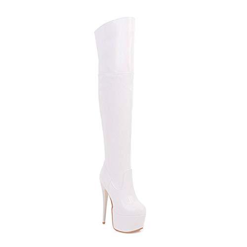 None/Brand Zapatos Fetiche de Plataforma para Mujer Tacones Altos para Mujer Botas sobre la Rodilla Botas Altas de Muslo Rojo Botas largas de Invierno de Cuero Blanco Rojo