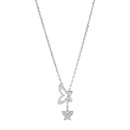 ShFhhwrl Collar Flash Diamante Mariposa Borla Collar Mujer Clavícula Cadena Simple Moda Lujo Temperamento Joyería