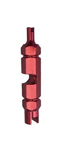 Nalunox-Extractor de Válvulas Bicicleta-Herramienta Quitar Núcleo Válvula Neumático-Llave Obus Válvula Presta-Desmontar Presta Schrader extraíbles-Reparación Motocicleta-Multifunción-Color Rojo