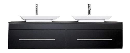 emotion Badmöbel Pegasus XL schwarz seidenglanz mit Aufsatzwaschbecken