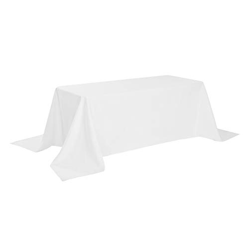 Rectangle Tablecloth 90x132 inch Washable Polyester Fabric Table Cloth for Wedding Party Dining Banquet Decoration(90x132, White)