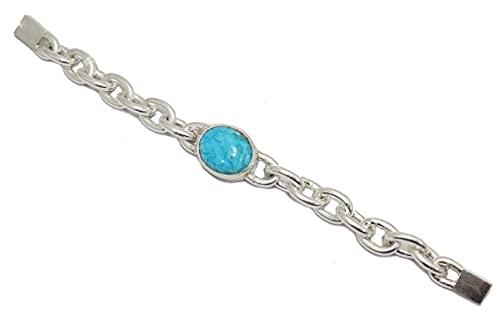 PH Bracelet - Pulsera de plata de ley 925 para hombre, diseño de piedra turquesa G