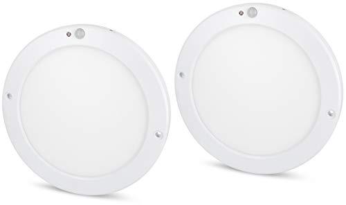 2 stuks - Ultraslim LED-sensor 18W paneel plafondlamp - met bewegingsmelder + schemeringssensor - ingebouwde LED-transformator - dagswit (4000 K)