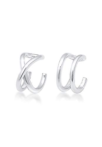 Elli Ohrringe Damen Earcuff Klemme Set Geo Basic Minimal in 925 Sterling Silber
