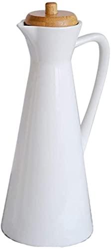 WhiteCeramic Botella dispensadora de aceite de oliva Vinagre Soja Dispensador de líquido de cocina Dispensador de condimentos Botella de aceite para cocina y almacenamiento de líquidos (2 ta