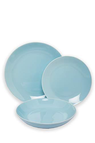 SELB Tafelservice Servier Set aus Steinzeug, 18-teiliges hochwertiges Teller-Set für 6 Personen (Hellblau)