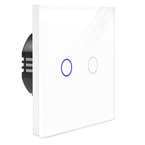 Navaris Interruptor de luz táctil para pared - Caja de cristal con pantalla táctil - Con 2 pulsadores indicador LED y material de montaje - Blanco