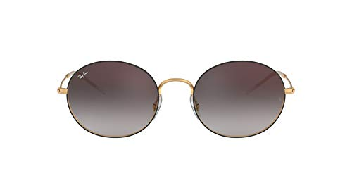 Ray-Ban RB3594 Beat Oval Sunglasses, Black On Rubber Gold/Grey Gradient Mirror, 53 mm