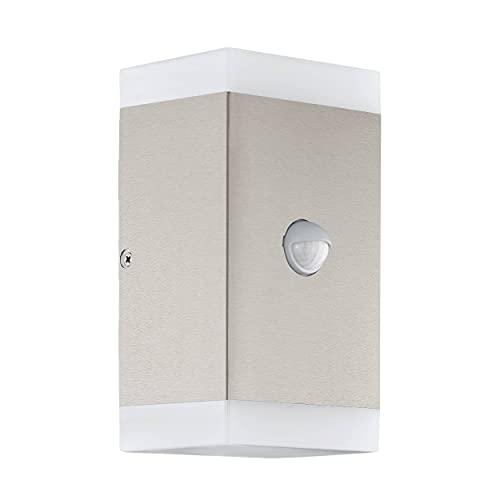 EGLO Carpinera - Lámpara de pared led para exteriores (2 focos, con sensor de movimiento, sensor crepuscular, de acero inoxidable, plástico, luz blanca cálida, GU10, IP44)