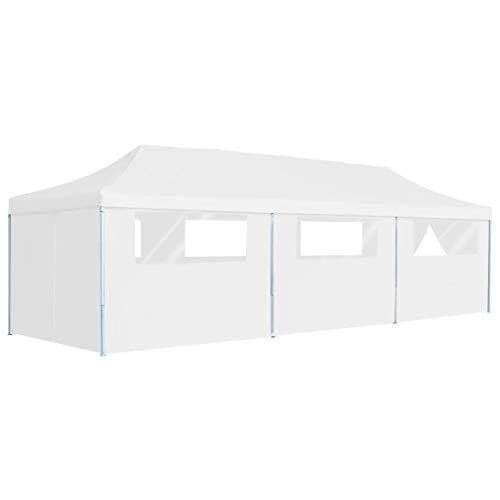 vidaXL Pop-Up Partyzelt Faltbar mit 8 Seitenwänden Pavillon Festzelt Gartenpavillon Bierzelt Faltpavillon Faltzelt Gartenzelt Garten 3x9m Weiß