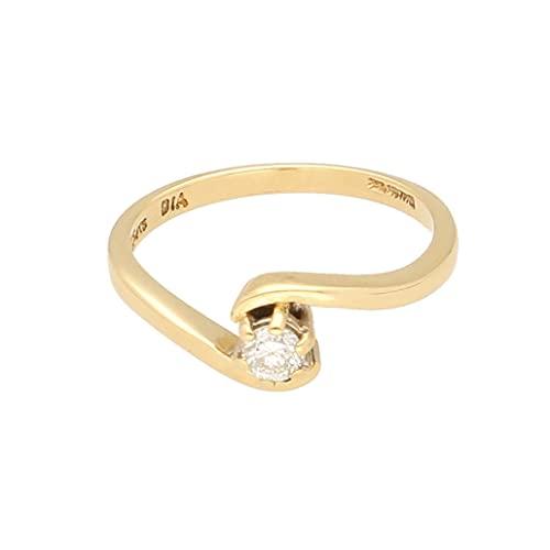 Anillo solitario de oro amarillo de 18 quilates con diamante de 0,15 quilates (talla M), cabeza de 3 mm, anillo de lujo para mujer