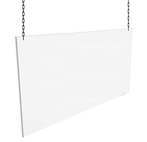 Hanging Sneeze Guard Panel Acrylic Social Distancing Shield Transparent w/Chain for Hanging from Ceiling 1/4' Thick (.220) (Acrylic, 48'L x 36'H)