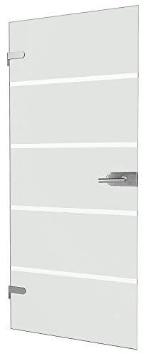 """inova Glas-Drehtür polierte Kante 834x1972x8mm Blockstreifen Glas DIN Links Beschlag """"03"""" Komplettset Glastür"""