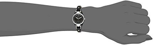 Women's XO3396 Silver-Tone Watch with Black Synthetic Leather Band