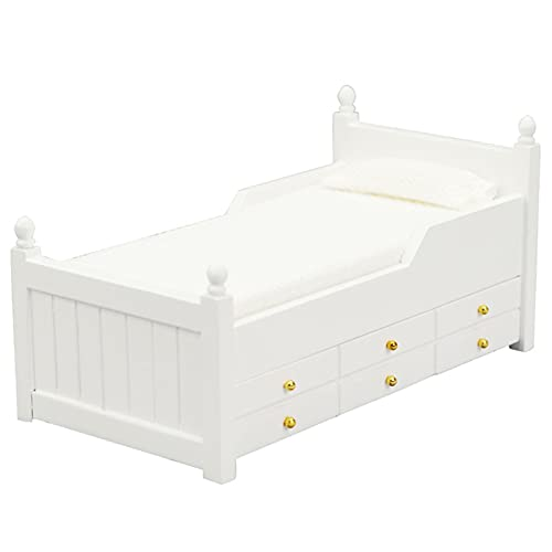 Washranp DIY casa de muñecas miniaturas, cajón cama decoración hecha a mano madera 1/12 escala cajón cama modelo juguete para jugar de roles - blanco