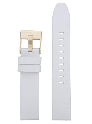 Diesel Correa de reloj intercambiable LB-DZ5565, correa de repuesto DZ5565, piel 18 mm, color blanco