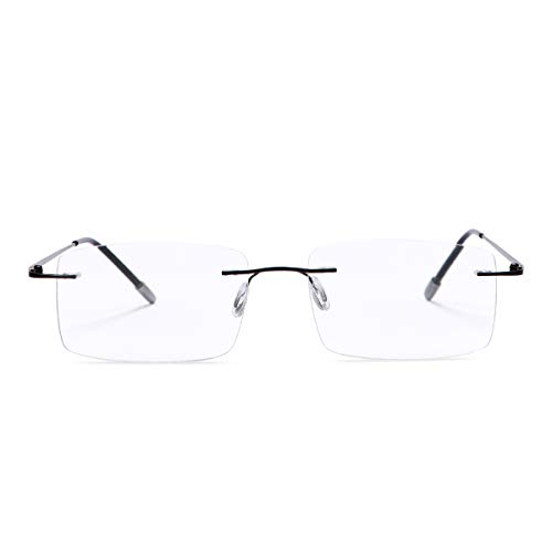 Rimless Bifocal Reading Glasses Blue Light Blocking Anti Glare Filter UV Eyewear