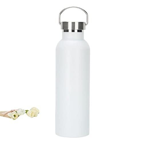 Buwaters Vakuumisolierte Reiseflaschen aus Edelstahl mit breiter Öffnung, mit Griff, 1 l, Weiß