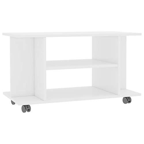 vidaXL Tv-meubel met Wieltjes Spaanplaat Hoogglas Wit Tv-Kast Televisiemeubel