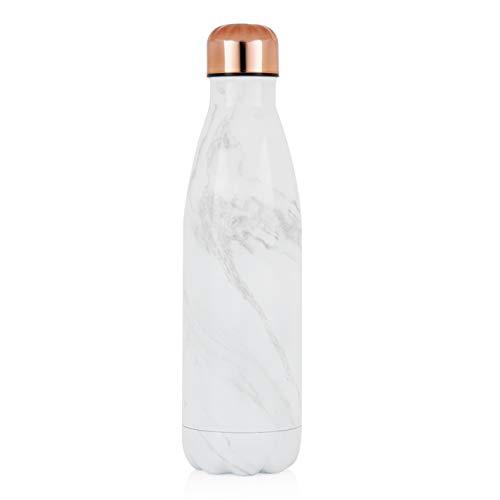 TOWER - Botella Deportiva (500 ml, aislada al vacío, mármol Blanco y Oro Rosa), Color Blanco