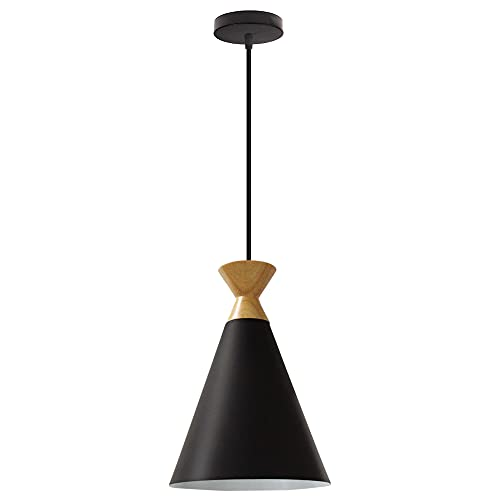 Lámpara de Techo Colgante Moderna de Aluminio E27 Lámpara de Techo para Comedor Habitacion Cocina Sala diámetro 19 cm LED Negro