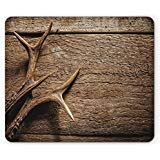 Ambesonne Antlers Mouse Pad, Deer Antlers on Wood Table Rustic Texture Surface Hunting Season Fall Gathering Art, Rectangle Non-Slip Rubber Mousepad, Standard Size, Umber