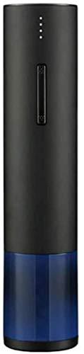 Abrebotellas de vino eléctrico Abridor de vino de acero inoxidable Sacacorchos automático profesional con cortador de papel de aluminio para la barra de fiesta de la bodega casera y como regalo-Negro