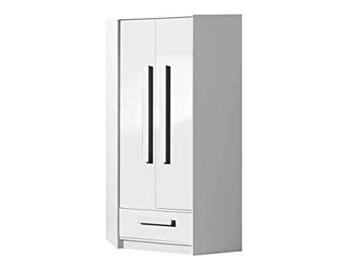 KRYSPOL Eckkleiderschrank GULIVER 2 Eckschrank mit 3 Einlegeböden, Kleiderstange und Schublade, Farbauswahl, Kinderzimmer (Weiß/Weiß Hochglanz)