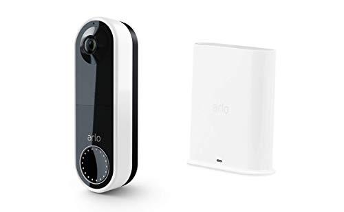 Arlo Essential kabellose Video Doorbell Überwachungskamera und SmartHub Bundle - weiß