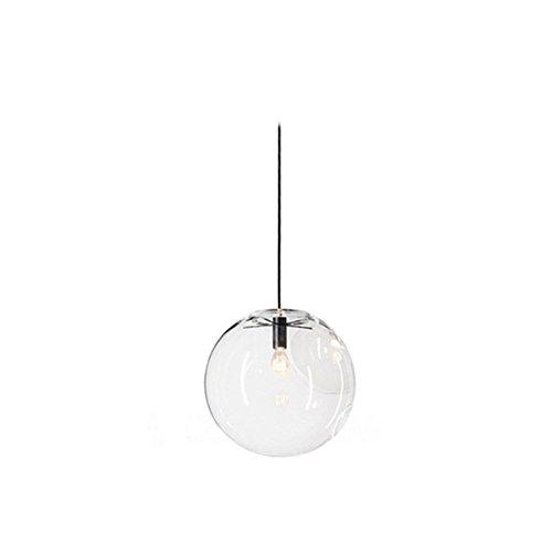 Boule en verre Wings of Wind E27suspension lustre transparent goutte en verre lampe à suspension support de lampe noir, Verre, 20cm, Φ20
