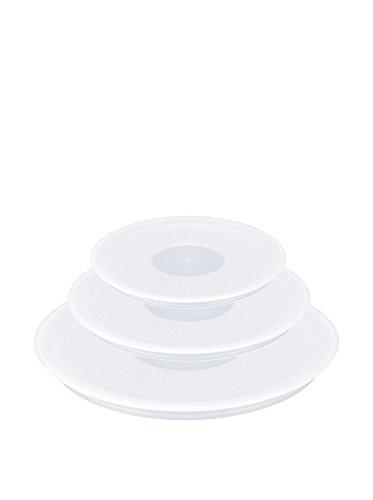 Tefal L90192 Ingenio Kunststoffdeckel-Set (Plastik, 16 cm, 18 cm, 20 cm) weiß
