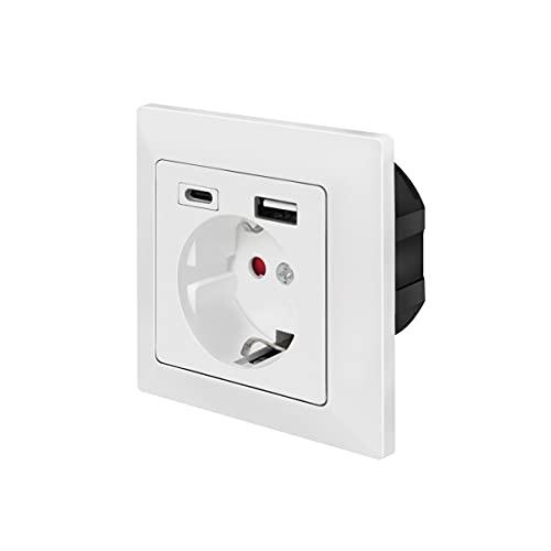 LogiLink PA0262 - Enchufe empotrable con 1 Enchufe de Contacto (CEE 7/3), 1 USB-A, 1 USB-C.