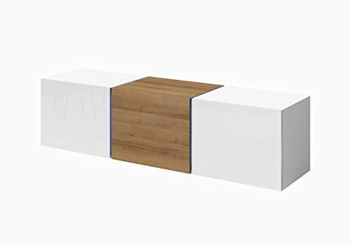 Domtech Wandmeubel met ledverlichting, 140 cm, hoogglans, wit hoogglans