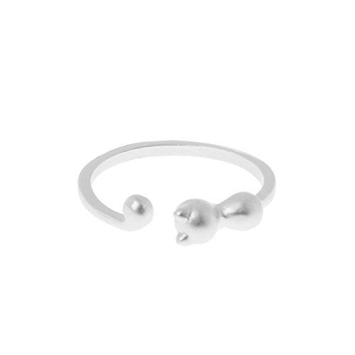 Gergxi Plateado CZ Crystal Cat Ear 3D Animal Wrap Anillos para Mujeres Ajustables